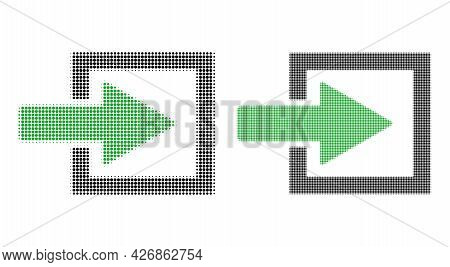 Dot Halftone Import Arrow Icon. Vector Halftone Composition Of Import Arrow Symbol Formed Of Round E