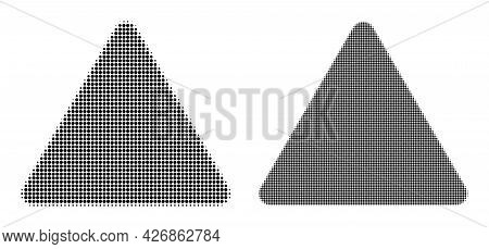 Dotted Halftone Rounded Triangle Icon. Vector Halftone Concept Of Rounded Triangle Icon Made Of Circ