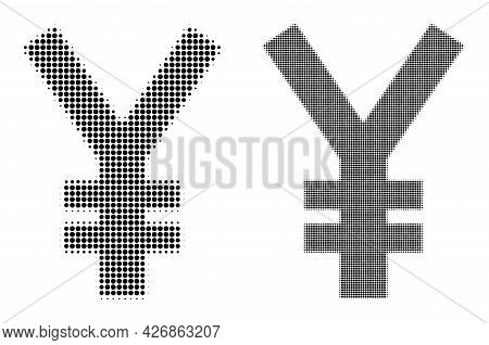 Pixelated Halftone Yen Symbol Icon. Vector Halftone Mosaic Of Yen Symbol Icon Designed Of Spheric Po