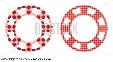 Pixelated Halftone Casino Chip Icon. Vector Halftone Collage Of Casino Chip Icon Composed Of Circle