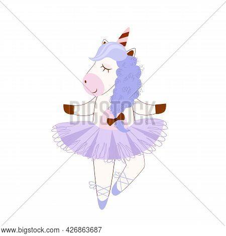 Vector Stock Illustration Of A Unicorn Ballerina Dancing Dance, For The Design Of Children's Product