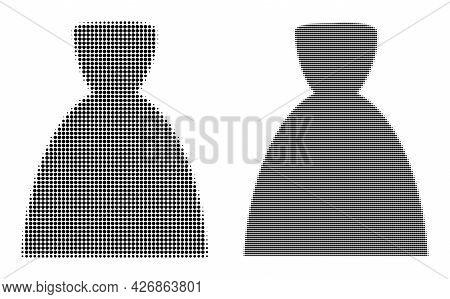 Pixel Halftone Female Dress Icon. Vector Halftone Pattern Of Female Dress Icon Designed Of Spheric P