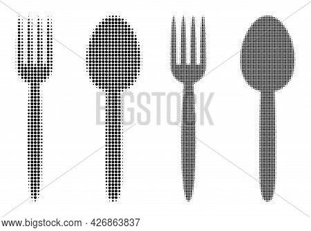 Pixel Halftone Food Utensil Icon. Vector Halftone Concept Of Food Utensil Icon Combined Of Round Ite