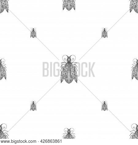 Summer Pattern With Bugs And Butterflies. With Modern Fashionable Textile Design.