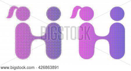 Pixelated Halftone Lovers Meeting Icon. Vector Halftone Mosaic Of Lovers Meeting Icon Done Of Spheri