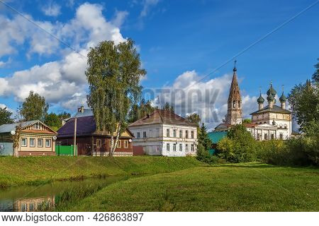 Cityscape  With Church And River In Nerekhta, Russia