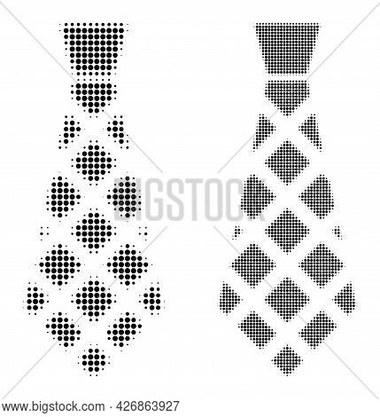 Dotted Halftone Checkered Tie Icon. Vector Halftone Collage Of Checkered Tie Icon Made Of Circle Pix