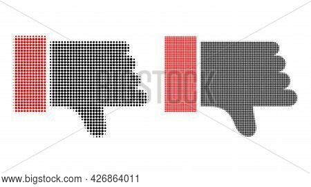 Dotted Halftone Thumb Down Icon. Vector Halftone Composition Of Thumb Down Icon Formed Of Spheric Do