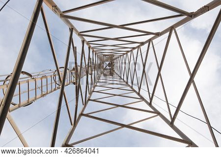 Metallic Rusty Structure Of A Telecommunication Tower Holding Antennas For Tv And Radio Transmission