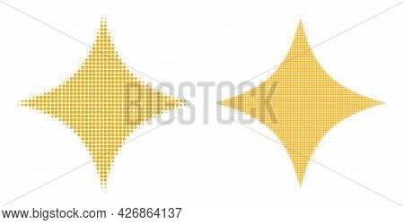 Pixelated Halftone Space Star Icon. Vector Halftone Mosaic Of Space Star Symbol Made Of Spheric Item