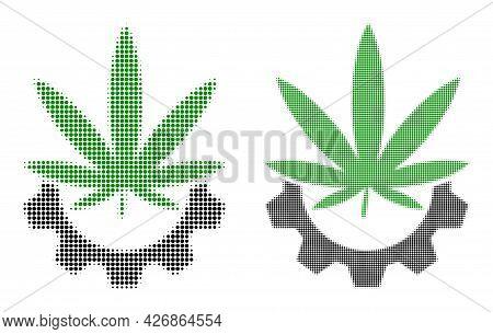 Dot Halftone Cannabis Industry Icon. Vector Halftone Concept Of Cannabis Industry Icon Made Of Round