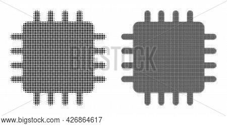 Dotted Halftone Chip Icon. Vector Halftone Pattern Of Chip Icon Combined Of Round Items.