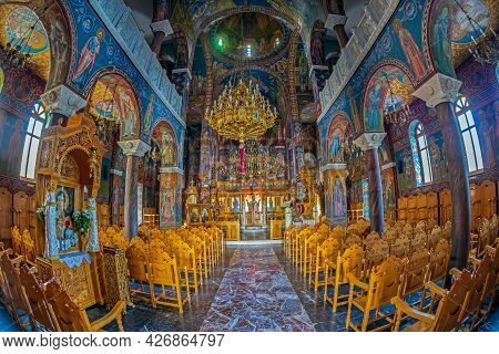 Rethymno, Crete Island, Greece - June 23, 2021: Interior View Of The Church Of Saint Georgios, Easte