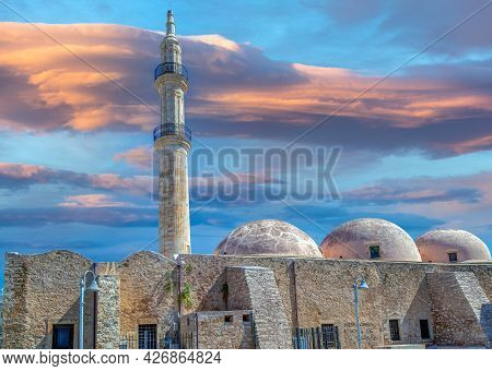Neratze Mosque In Rethymno, Crete, Greece. Dated From 1657,  Known As Gazi Hussein Mosque, Located T