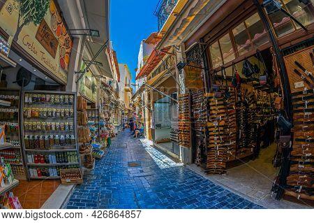 Rethymno, Crete Island, Greece - June 20, 2021: Small Souvenir Shops Located On The Picturesque Hist