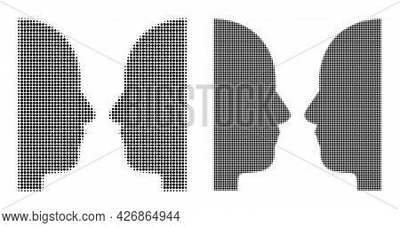 Pixelated Halftone Dual Face Icon. Vector Halftone Collage Of Dual Face Icon Created Of Spheric Poin