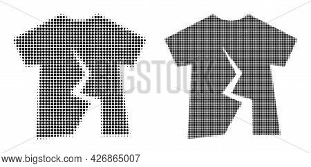 Dotted Halftone Torn T-shirt Icon. Vector Halftone Concept Of Torn T-shirt Icon Done Of Spheric Item