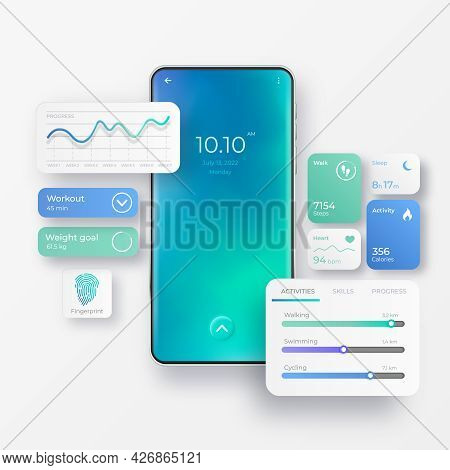 Realistic Mobile Phone With Fitness App Interface Elements. Activity App. Fitness Dashboards With Ch