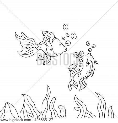 Black And White Cute Cartoon With Sea Fishes Vector Illustration For Coloring Book