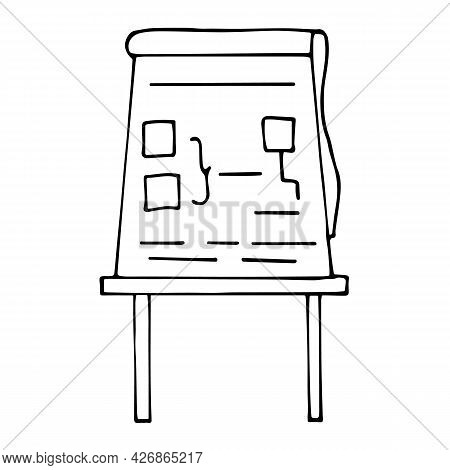 Presentation Board Vector Illustration In Doodle Style. Hand Drawn Sign Of Briefing, Conference Or S