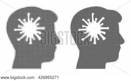 Pixelated Halftone Coronavirus Brain Icon. Vector Halftone Composition Of Coronavirus Brain Icon For