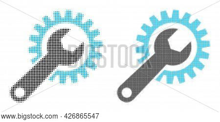 Dotted Halftone Repair Gear Icon. Vector Halftone Mosaic Of Repair Gear Icon Created Of Round Points