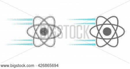 Pixelated Halftone Rush Atom Icon. Vector Halftone Pattern Of Rush Atom Icon Combined Of Round Point