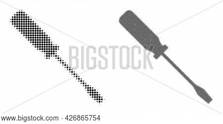Pixel Halftone Screwdriver Icon. Vector Halftone Composition Of Screwdriver Icon Made Of Spheric Dot