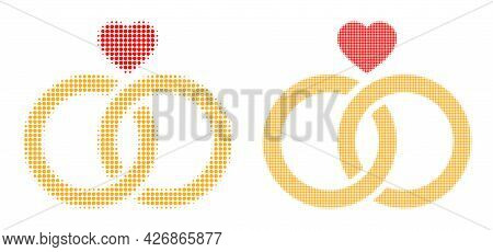 Dotted Halftone Wedding Rings Icon. Vector Halftone Concept Of Wedding Rings Icon Organized Of Spher