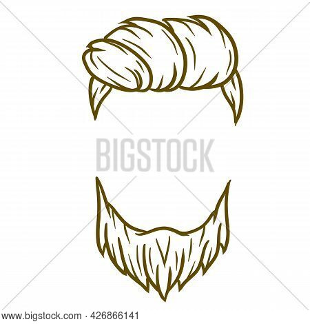 Fashionable Men Haircut. Element Of Head Of Hipster. Hair And Beard. Fashion And Style. Hand-drawn I