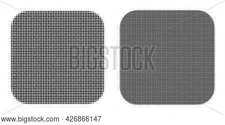 Pixel Halftone Rounded Square Icon. Vector Halftone Pattern Of Rounded Square Icon Formed Of Round P