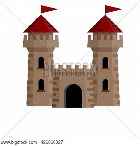Medieval European Stone Castle. Knight's Fortress. Concept Of Security, Protection And Defense. Cart