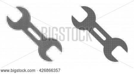 Pixel Halftone Wrench Tool Icon. Vector Halftone Concept Of Wrench Tool Icon Organized Of Spheric It