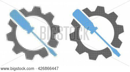Pixelated Halftone Wrench Tuning Icon. Vector Halftone Mosaic Of Wrench Tuning Icon Designed Of Circ