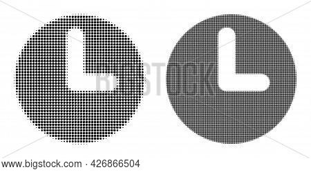 Pixelated Halftone Time Icon. Vector Halftone Mosaic Of Time Icon Made Of Spheric Pixels.