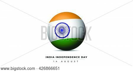 India Flag With Sphere Design For India Independence Day. Good Template For India National Day Desig