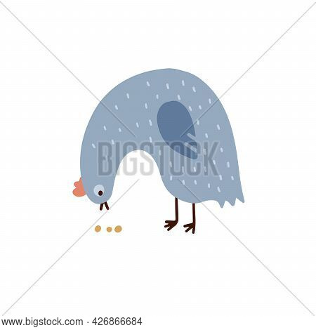 Childish Cute Cock In Simple Scandinavian Style. The Chicken Pecks The Grains Adorable Hen Isolated