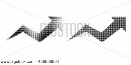 Dotted Halftone Growing Arrow Chart Icon. Vector Halftone Collage Of Growing Arrow Chart Icon Formed