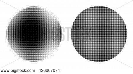 Pixel Halftone Circle Icon. Vector Halftone Composition Of Circle Icon Composed With Circle Elements