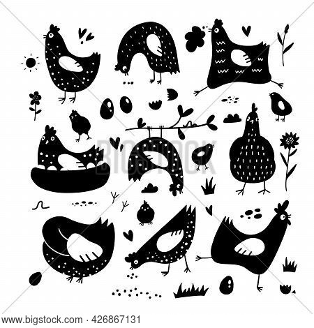Clipart Of Chickens, Hens, Cocks, Eggs In Scandinavain Simple Style, Black Silhouette Art. Elements