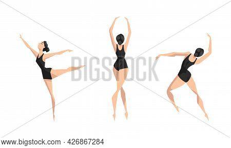 Girl Ballet Dancer Dancing In Black Leotard Set, Young Woman Performing Art Gymnastics Exercises Car