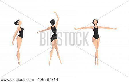 Girl Ballet Dancer Performing In Black Leotard Set, Beautiful Young Woman Performing Art Gymnastics