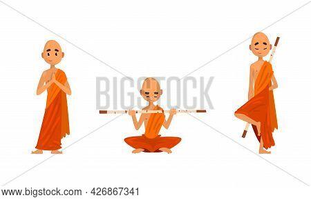 Buddhist Monks In Orange Robes Set, Thai Monks Meditating And Praying Cartoon Vector Illustration