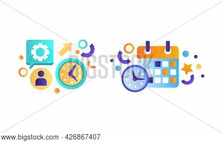 Business And Finance Signs Set, Wall Clock, Shedule, Strategy, Management, Marketing Symbols Flat Ve