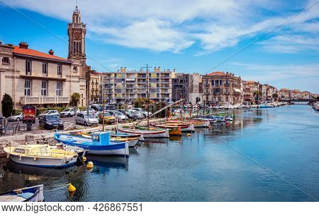 SETE, FRANCE - June 11, 2021: Colorful houses in Sete - Small town on the French Mediterranean coast known, south of France