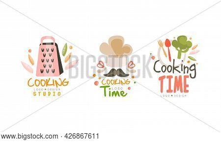 Cooking Time Studio Logo Design Set, Cooking Studio Hand Drawn Labels Vector Illustration