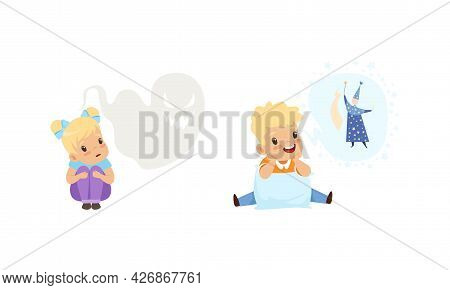 Kids Imagination Concept, Cute Little Girl Scared Of Ghosts, Boy Dreaming Of Becoming Wizard Cartoon