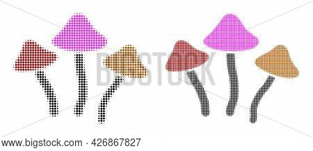 Dotted Halftone Psychedelic Mushrooms Icon. Vector Halftone Composition Of Psychedelic Mushrooms Ico