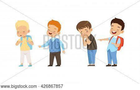 Aggressive Boys Mocking And Pointing At Classmates, Mockery And Bullying At School Cartoon Vector Il