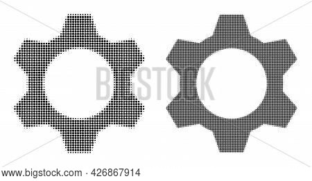 Pixelated Halftone Cog Icon. Vector Halftone Pattern Of Cog Icon Done Of Circle Pixels.